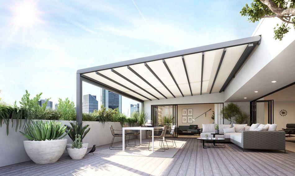 Wetterschutzmarkise für große Terrassen: markilux pergola stretch