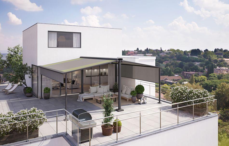 Sonnenschutzanlage syncra Dachterrasse pergola